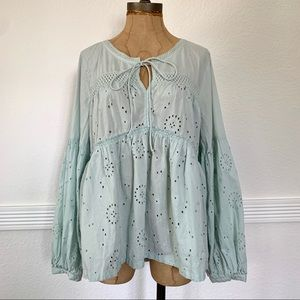 COPY - Pre-owned Susina Eyelet Peasant Top Mint G…